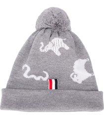thom browne animal intarsia merino wool hat - grey