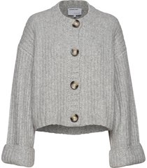 chunky cropped cardigan stickad tröja cardigan grå designers, remix
