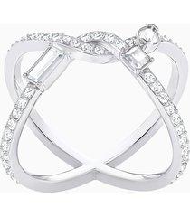anello henrietta cross, bianco, placcatura rodio