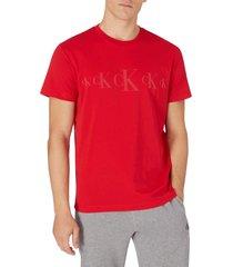camiseta de algodón reciclado rojo calvin klein