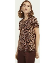 scotch & soda 100% katoenen t-shirt met dierenprint