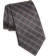 men's ermenegildo zegna check silk tie, size one size - grey