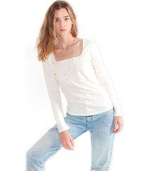camiseta para mujer manga larga, escote cuadrado color-blanco-talla-l