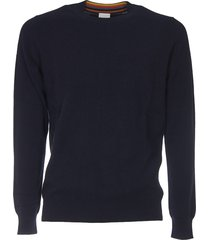 blue crew-neck pullover with multicolor detail