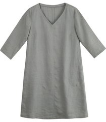 linnen jurk, zilvergrijs 44