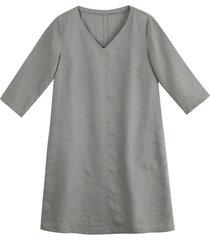 linnen jurk, zilvergrijs 38