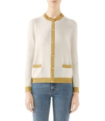 women's gucci metallic trim cashmere & silk cardigan
