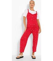 zwangerschap bloemenprint culotte jumpsuit, red