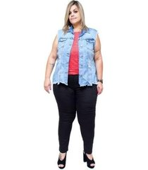 colete jeans cambos plus size feminina