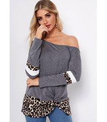 color block leopard one camisetas con dobladillo anudado y mangas largas con hombros descubiertos