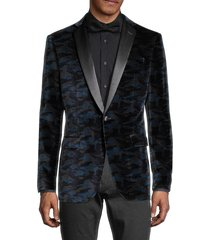 john varvatos star u.s.a. men's bedford standard-fit velvet camo tuxedo jacket - black navy - size 40 r