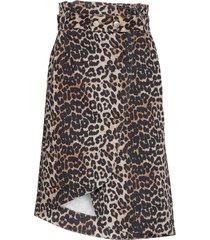 print denim skirt knälång kjol brun ganni