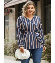 botón a rayas con cuello en v y talla grande diseño abrigo diseño blusa de manga larga