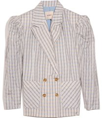 frida blazer in white/blue