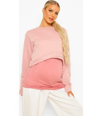 zwangerschap overlay sweater, dusty rose