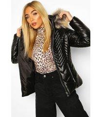 chevron faux fur trim coat, black
