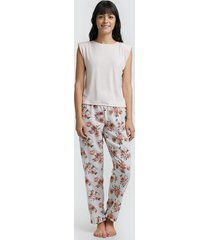 pantalón para mujer flores color blanco, talla m