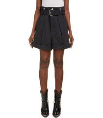 isabel marant delilaz paperbag waist cotton shorts, size 10 us in black 01bk at nordstrom