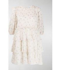 ganni floral tiered mini dress