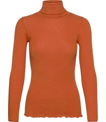 silk t-shirt regular ls roller neck turtleneck polotröja orange rosemunde