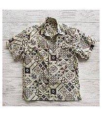 men's batik cotton shirt, 'javanese batik' (indonesia)