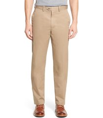 men's big & tall nordstrom men's shop smartcare(tm) classic supima cotton flat front straight leg dress pants, size 44 x 36 - brown