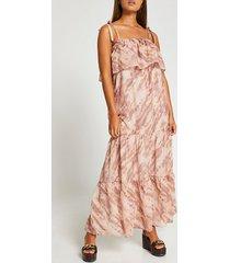 river island womens beige tie dye print bardot maxi dress