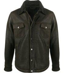giorgio brato shearling-lined nubuck jacket - green