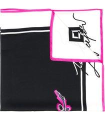 karl lagerfeld k/signature orchid print scarf - black