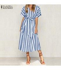 zanzea mujeres botón casual con cuello en v vestido de la camisa hasta vestido de tirantes larga a rayas midi -azul