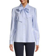 redvalentino women's pinstripe pussycat bow blouse - blue - size 38 (6)