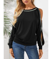 yoins negro brilho camiseta de manga larga con hombros descubiertos