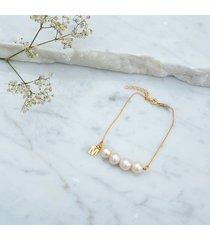 bransoletka z perłami for4 - pozłacana