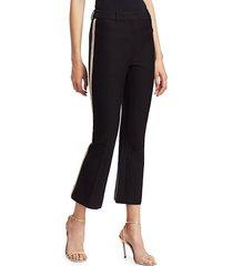 derek lam women's corinna racing stripe crop flare tuxedo pants - black - size 2