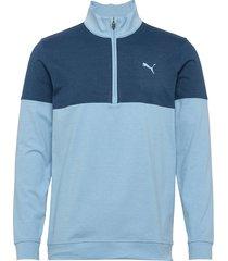 warm up 1/4 zip sweat-shirt tröja blå puma golf