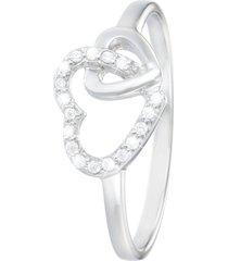 anello cuori in argento 925 rodiato e zirconi per donna