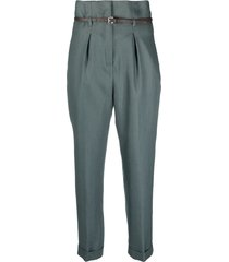 peserico belted tailored trousers - green