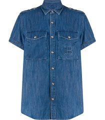 balmain embossed monogram denim shirt - blue