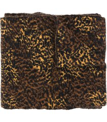 saint laurent leopard print scarf - brown