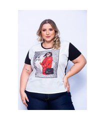 t-shirt miss musa plus size frente no tecido crepe e costas na malha viscolycra preto
