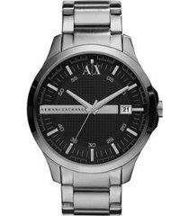 relógio armani exchange ax2103/1pn 46mm aço masculino