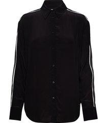 relaxed tape faux si overhemd met lange mouwen zwart calvin klein jeans