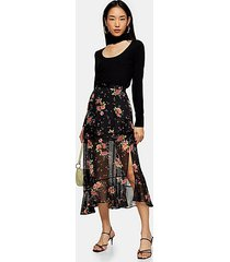 black floral metallic thread ruffle maxi skirt - black