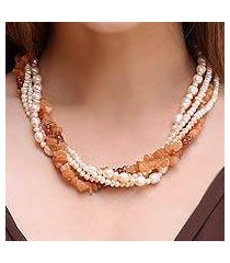 carnelian and pearl necklace, 'peach honey' (thailand)