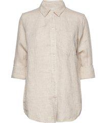boyfriend shirt in linen långärmad skjorta beige gap