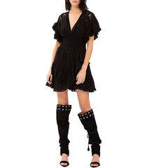 mapple ruffle v-neck a-line dress