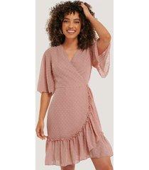 trendyol wrap dot mini dress - pink