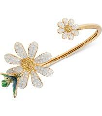 kate spade new york gold-tone crystal & stone flower flexi-cuff bracelet