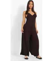 wide leg culotte jumpsuit met bandjes, brown