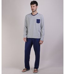 pijama masculino camiseta com bolso manga longa gola careca cinza mescla